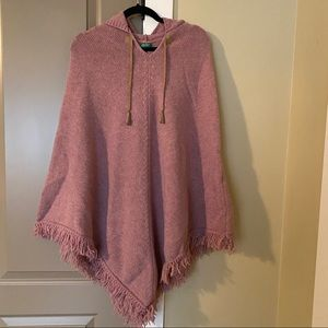 Benetton Pink Wool Poncho One Size